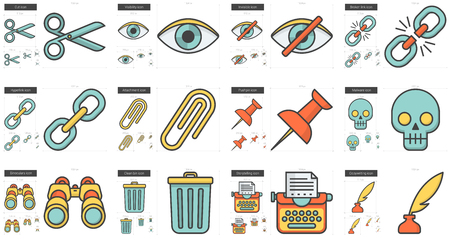 broken link: Content Edition vector line icon set isolated on white background. Content Edition line icon set for infographic, website or app. Scalable icon designed on a grid system.