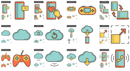 Mobility vector line icon set isolated on white background. Mobility line icon set for infographic, website or app. Scalable icon designed on a grid system. Çizim