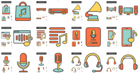 headset voice: Music vector line icon set isolated on white background. Music line icon set for infographic, website or app. Scalable icon designed on a grid system.