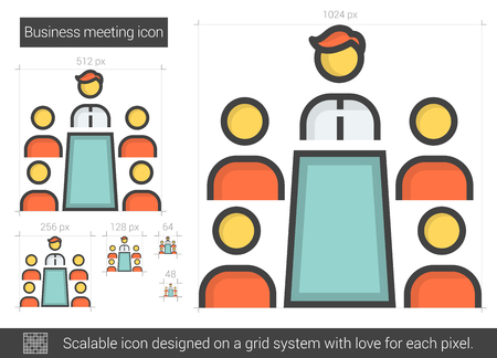 Business meeting vector line icon isolated on white background. Business meeting line icon for infographic, website or app. Scalable icon designed on a grid system. Stok Fotoğraf - 64064480