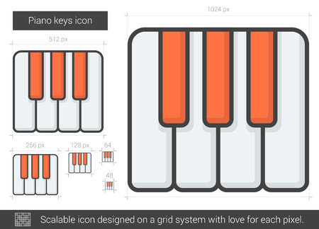 ivories: Piano keys vector line icon isolated on white background. Piano keys line icon for infographic, website or app. Scalable icon designed on a grid system.