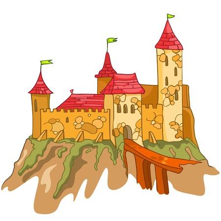 Cartoon Illustration Castle. Illustration Isolated on White Background.