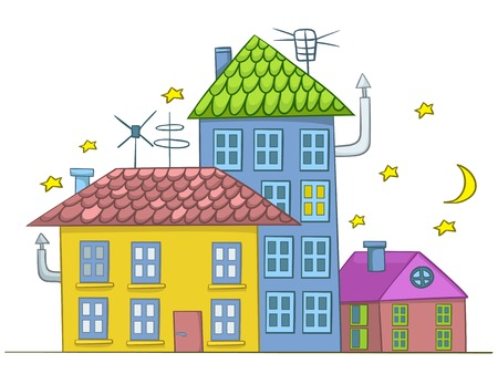 architectural styles: Cartoon Illustration House. Illustration Isolated on White Background.
