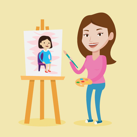 Young caucasian woman painting a female model on canvas. Creative smiling female artist drawing on an easel. Cheerful artist working on painting. Vector flat design illustration. Square layout. Illustration