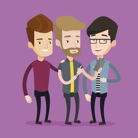 friends laughing: Young hipster guy with the beard showing something to his friends on his mobile phone. Three happy caucasian friends looking at smartphone and laughing. Vector flat design illustration. Square layout. Illustration