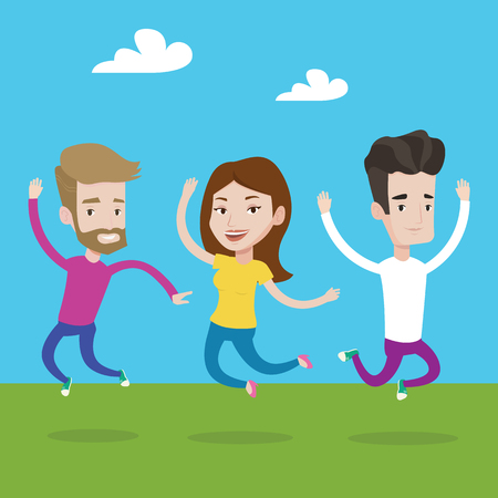 lifestyle outdoors: Happy group of young caucasian people jumping in the park. Group of cheerful friends having fun and jumping outdoors. Friendship and lifestyle concept. Vector flat design illustration. Square layout.