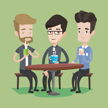 caucasian men: Group of young caucasian men drinking hot and alcoholic drinks. Three smiling friends hanging out together in a cafe. Relaxation and friendship concept. Vector flat design illustration. Square layout.