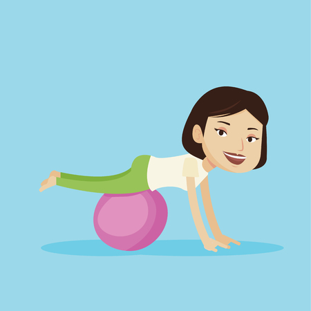 strengthen: Young cheerful caucasian woman exercising with fit ball. Smiling sporty woman working out with exercise ball. Concept of healthy lifestyle and sport. Vector flat design illustration. Square layout
