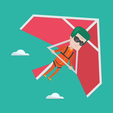 deltaplane: Smiling caucasian man flying on hang-glider. Sportsman taking part in hang gliding competitions. Man having fun while gliding on delta-plane in the sky. Vector flat design illustration. Square layout.