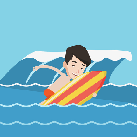 water sport: Young caucasian man having fun during execution of a move on a blue ocean wave. Happy surfer in action on a surf board. Lifestyle, water sport concept. Vector flat design illustration. Square layout.