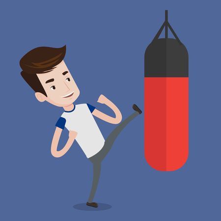 Smiling caucasian boxer man exercising with boxing bag. Kickbox fighter hitting heavy bag during training. Male boxer training with the punch bag. Vector flat design illustration. Square layout. 矢量图像