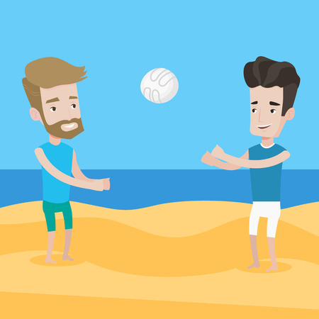 caucasian men: A hipster man with the beard playing beach volleyball with his friend. Two caucasian men having fun while playing beach volleyball during summer holiday. Vector flat design illustration. Square layout Illustration