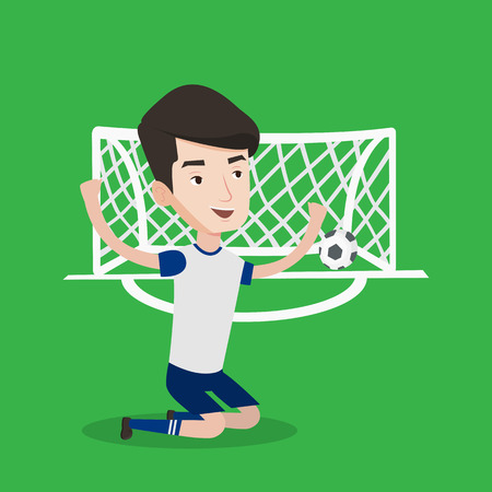 scoring: Caucasian soccer player celebrating scoring goal. Young football player kneeling with raised arms on the background of football gate with ball in it. Vector flat design illustration. Square layout.