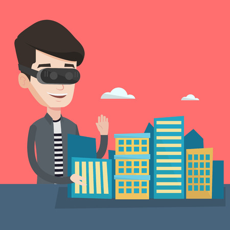 virtual world: Young man wearing virtual reality headset and getting into vr world. Man developing a project the architecture of the city using virtual reality glasses. Vector flat design illustration. Square layout