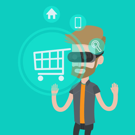 caucasians: Young caucasian hipster man with beard wearing virtual reality headset and looking at shopping cart icon. Virtual reality, shopping online concept. Vector flat design illustration. Square layout.