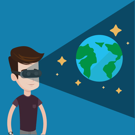 futuristic man: Happy gamer wearing futuristic virtual reality headset and looking at open space with earth model and stars. Young caucasian man playing videogame. Vector flat design illustration. Square layout. Illustration