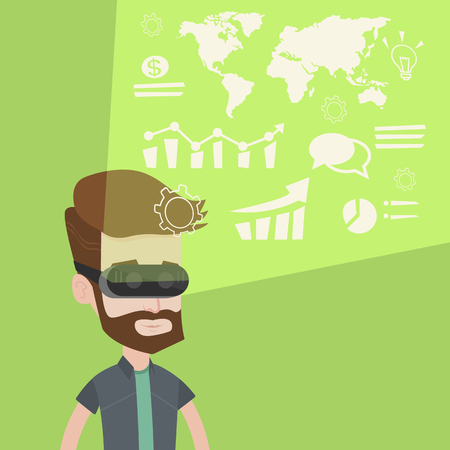 headset business: Young caucasian hipster businessman wearing virtual reality headset, looking at the digital display with business graphs and analyzing virtual data. Vector flat design illustration. Square layout.
