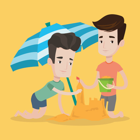 caucasian men: Young caucasian men making sand castle on the beach under beach umbrella. Smiling friends building sandcastle. Tourism and beach holiday concept. Vector flat design illustration. Square layout.