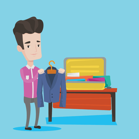 suitcase packing: Young businessman packing his clothes in an opened suitcase. Smiling caucasian businessman putting a suit into a suitcase. Man preparing for vacation. Vector flat design illustration. Square layout. Illustration