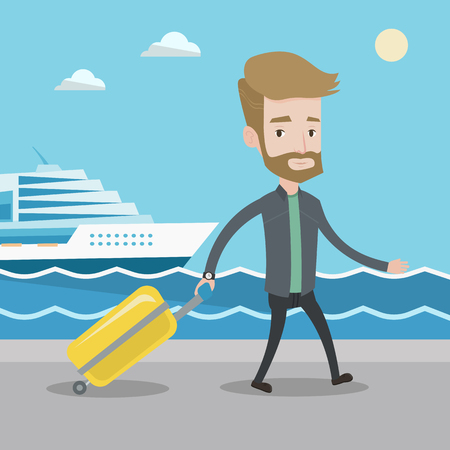 Smiling young passenger with suitcase going to shipboard at the pier station. A hipster man with the beard walking on the background of cruise liner. Vector flat design illustration. Square layout.
