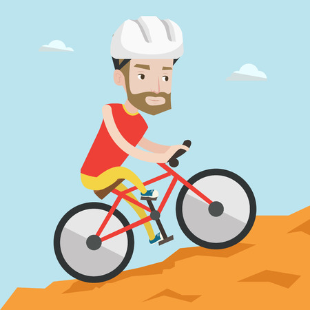 confident man: Extreme hipster man with the beard riding on mountain bike. Young confident man tourist in helmet traveling in the mountains on a mountain bicycle. Vector flat design illustration. Square layout.