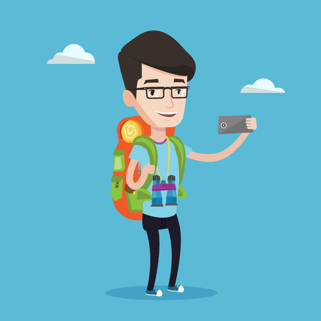 Hiking caucasian man making selfie. Smiling wanderer man with backpack and binoculars taking photo with cellphone. Young happy man during summer trip. Vector flat design illustration. Square layout. Illustration