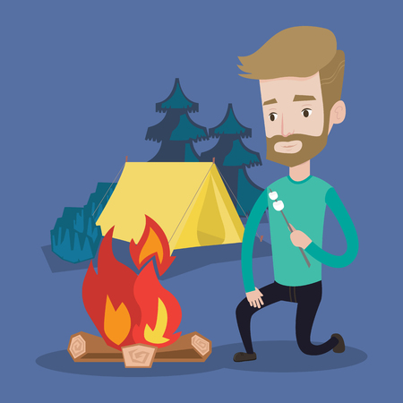 roasting: Smiling young hipster man with the beard sitting near campfire and roasting marshmallow over campfire on the background of camping site with tent. Vector flat design illustration. Square layout.