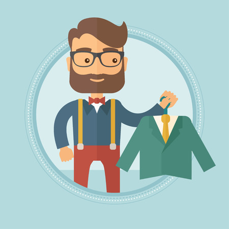 Caucasian hipster shopper holding hanger with suit jacket and shirt. Shopper choosing suit jacket. Shop assistant offering suit. Vector flat design illustration in the circle isolated on background.