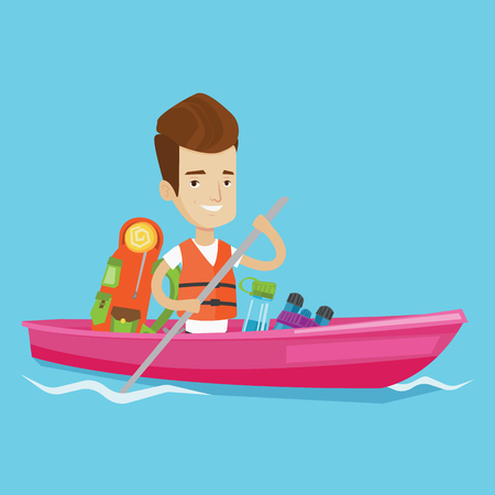 Young traveling man riding in a kayak on the river with skull in hands and some tourist equipment behind him. Cheerful caucasian man traveling by kayak. Vector flat design illustration. Square layout. Ilustrace