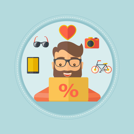 consumer goods: A hipster man sitting in front of laptop and some images of goods around him. Man doing online shopping. Man buying on internet. Vector flat design illustration in the circle isolated on background. Illustration
