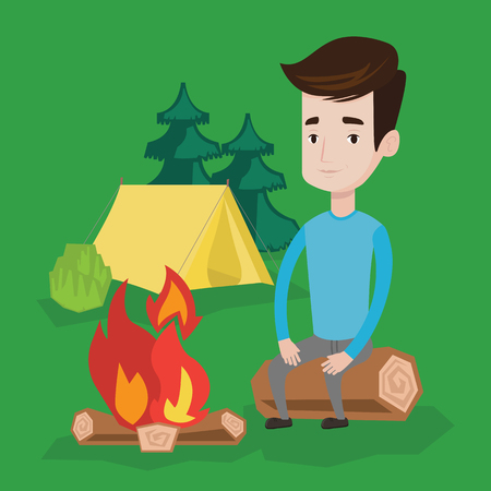 camping site: Travelling man sitting on a log near a fire on the background of camping site with tent. Young caucasian man sitting near a campfire at a campsite. Vector flat design illustration. Square layout. Illustration