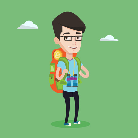 wanderer: Hiking caucasian man standing with backpack and binoculars. Smiling wanderer man enjoying his recreation time in nature. Happy man during summer trip. Vector flat design illustration. Square layout.