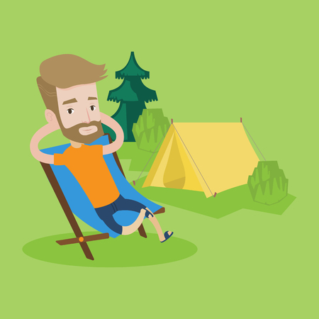 collapsible: Happy hipster man with the beard sitting in a folding chair in the camp. Young caucasian man relaxing and enjoying his camping holiday near the tent. Vector flat design illustration. Square layout.