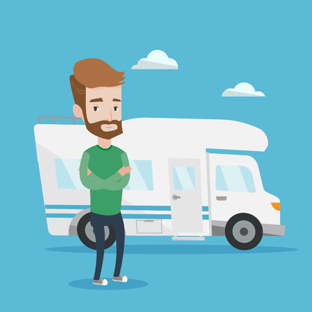 motor home: Confident hipster man with the beard standing in front of motor home. Young caucasian man with arms crossed enjoying his vacation in camper van. Vector flat design illustration. Square layout.