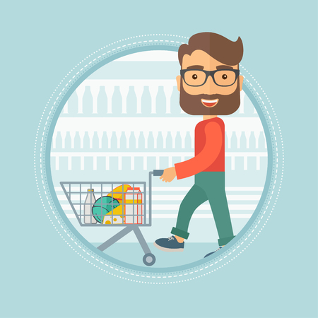 supermarket trolley: Caucasian hipster shopper walking with supermarket trolley with some goods in it at grocery store. Shopper shopping at supermarket. Vector flat design illustration in the circle isolated on background