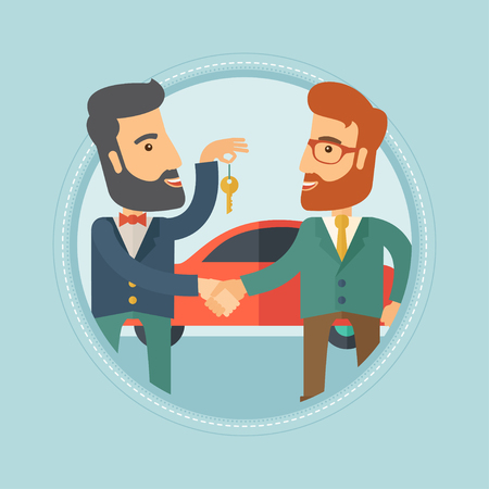 Hipster car salesman giving car key to a new owner on the background of car shop. Man buying car and shaking hand to a salesman. Vector flat design illustration in the circle isolated on background. Illustration