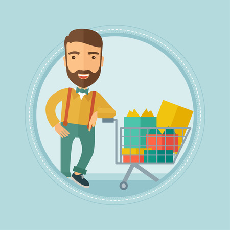 supermarket trolley: Caucasian hipster man with beard leaning on supermarket trolley full of gift boxes. Happy man buying gifts for christmas presents. Vector flat design illustration in the circle isolated on background.
