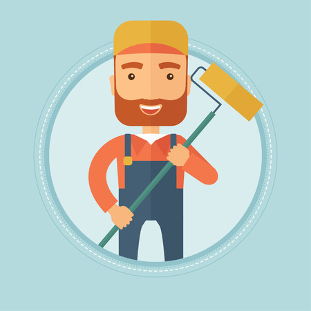 A hipster caucasian painter with the beard in uniform holding a paint roller in hands. Painter at work. Painter vector flat design illustration in the circle isolated on background.