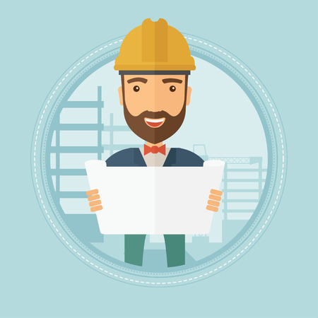 Hipster engineer with beard watching a blueprint at construction site. Man with engineer blueprint. Engineer holding a blueprint. Vector flat design illustration in the circle isolated on background.