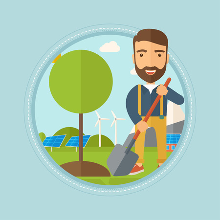 Hipster man plants a tree. Man standing with shovel near newly planted tree on the background of wind turbines and solar panels. Vector flat design illustration in the circle isolated on background.