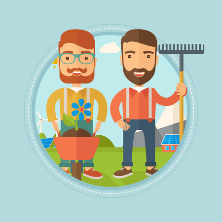 Two caucasian hipster man standing with a rake and a flower in a wheelbarrow on the background of solar panels and wind turbines. Vector flat design illustration in the circle isolated on background. Illustration