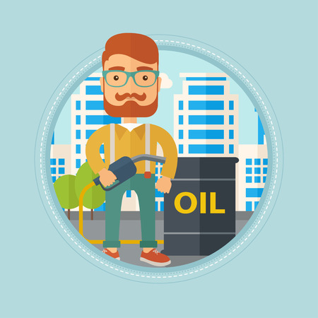 gas man: Hipster caucasian man standing near oil barrel. Oil worker holding gas pump nozzle on a city background. Oil industry concept. Vector flat design illustration in the circle isolated on background.