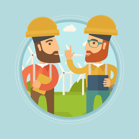 Two hipster workers talking on background of wind turbines. Caucasian workers of wind farm in helmets discussing working affairs. Vector flat design illustration in the circle isolated on background. Vettoriali