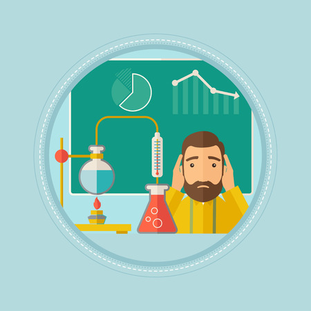 Student carrying out experiment in science class. Student working at laboratory class. Student clutching head at chemistry class. Vector flat design illustration in the circle isolated on background.