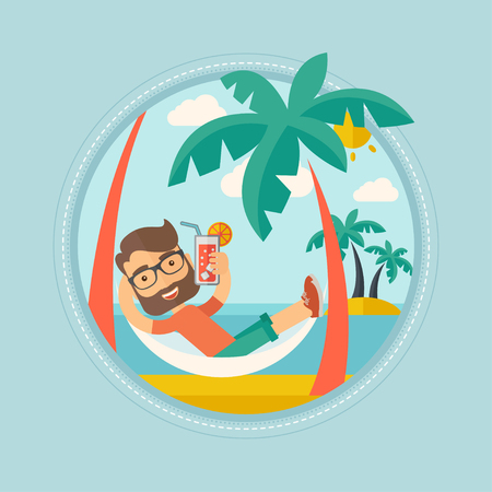 chilling: Hipster caucasian man with beard chilling in hammock with a cocktail on the beach. Tourist drinking a cocktail on the beach. Vector flat design illustration in the circle isolated on background.