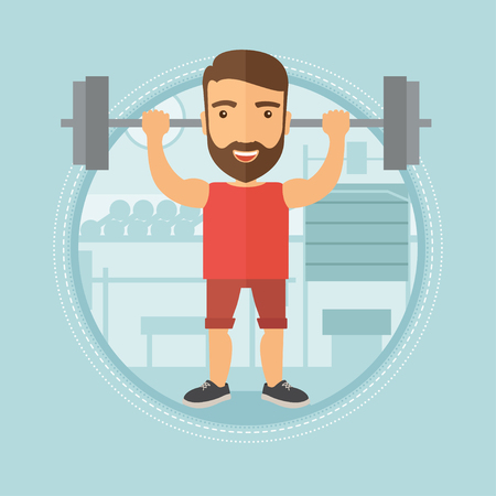 Caucasian hipster man lifting a heavy weight barbell. Sportsman doing exercise with barbell. Male weightlifter holding a barbell. Vector flat design illustration in the circle isolated on background. Illustration