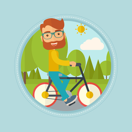 lifestyle outdoors: Caucasian hipster man riding a bicycle in the park. Cyclist riding bike on forest road. Man on a bike outdoors. Lifestyle concept. Vector flat design illustration in the circle isolated on background.