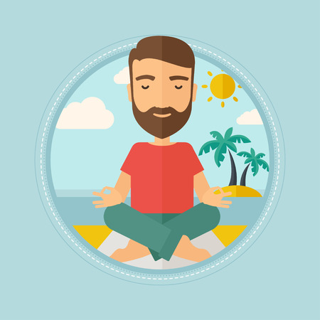 lotos: Caucasian hipster man with beard meditating in yoga lotus pose on the beach. Man relaxing on the beach in the yoga lotus position. Vector flat design illustration in the circle isolated on background.