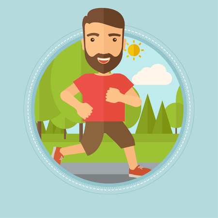 Caucasian hipster man with beard running. Male runner jogging outdoors. Sportsman running in the park. Running man on forest road. Vector flat design illustration in the circle isolated on background. Ilustração