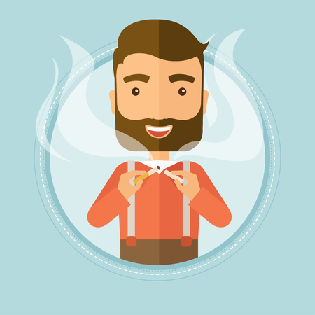 crushing: Caucasian young hipster man breaking the cigarette. Man crushing cigarette. Man holding broken cigarette. Quit smoking concept. Vector flat design illustration in the circle isolated on background.